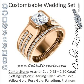 CZ Wedding Set, featuring The Jennifer engagement ring (Bezel-set Asscher Cut with Thick Band featuring Double-Row Pavé Accents)