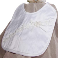 Silk Dupioni Handmade Bib with Venise Lace & Flower Trim (Infant Girls)