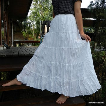 Snow White Hand Dyed Cotton Maxi Long Skirt Tiered Ruffle Skirt Hippie Gypsy Hobo