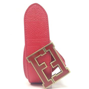 Fendi Zucca Red 38 Designer Belt Gold Buckle Men Unisex
