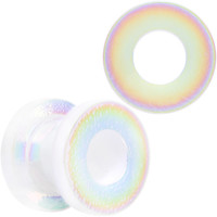 0 Gauge Iridescent White Acrylic Screw Fit Tunnel Plug Set