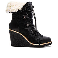 Mona Wedge Boot With Sheep Fur in Black Leather & Pony Skin