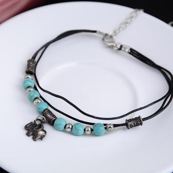Women's Anklets Lady Silver Plated Turquoise Beads Elephant Bracelet For Ankle