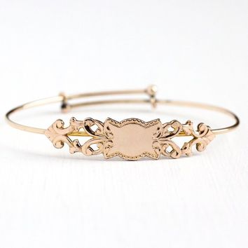 Antique Edwardian Bracelet - 14k Rosy Yellow Gold Filled Adjustable Petite Bangle - 1910s Vintage Dainty Expanding Decorative Plaque Jewelry