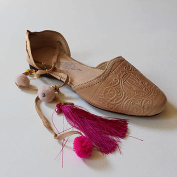 Boho leather flats women/boho leather flats/greek shoes/pom pom leather ballet flats