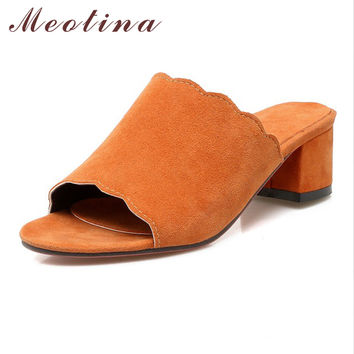 Meotina Designer Women Shoes Summer Sandals Thick High Heel Slippers Open Toe Ruffles Mules Shoes Slides Orange Large Size 9 43
