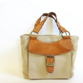 Vintage canvas and leather handbag purse. Eddie Bauer purse with braided leather straps
