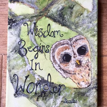 "Handpainted owl mixed media art with quote / ""wisdom begins in wonder"" socrates quote / owl in a tree canvas / 8x10 inch canvas art / owls"