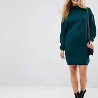 ASOS Knitted Mini Dress With High Neck And wide sleeves at asos.com