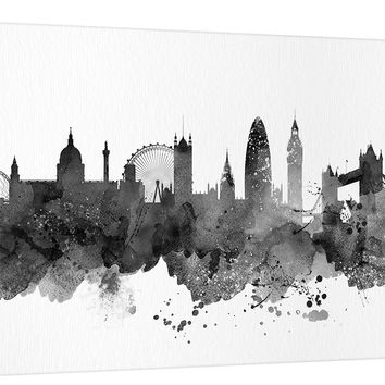 City Wall Art - Art Print, Watercolor London Canvas  Print - United Kingdom Art Canvas Print - London Skyline Silhouettes Watercolor