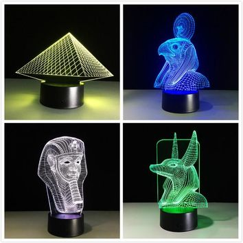 Egypt Anubis 3D Lamp LED Night Light Illusion Color Changed Xmas Toy Gift USB Lights Drop Shipping