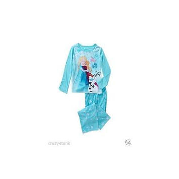 Girls' Frozen Hugs Fleece Pajama Pant Set, Large 10/12, Blue Disney
