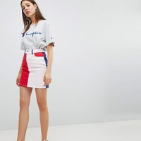 ASOS DESIGN denim original skirt in color block at asos.com