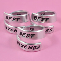 BEST BITCHES - Spiral Rings Set (3 Rings), Hand Stamped Aluminum Rings, Best Ssister Gift, BFF Gift, Uppercase Handwritten Font