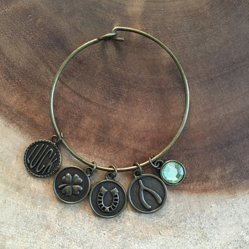 St Patricks Day Bangle, Good Luck Bangle, Graduation Gift, Gift for Her, Bronze Charm Bracelet, Wishbone, Clover, Horse Shoe, Luck Charm