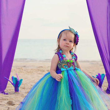 Peacock tutu dress- Peacock Flower girl dress