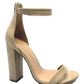 Wild Diva Womens Open Toe High Chunky Heel Ankle Strap Platform Sandal Shoes Style Pace02