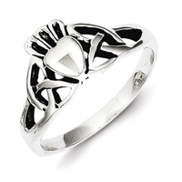 Sterling Silver Antiqued Celtic Knot Claddagh Ring
