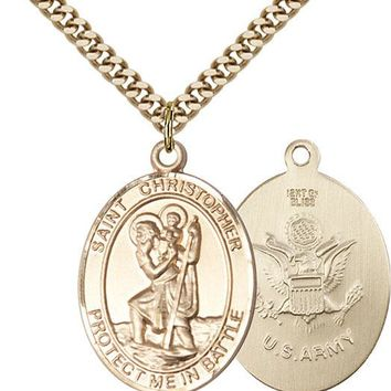14K Gold Filled St Christopher Army Military Soldier Catholic Medal Necklace 617759453768