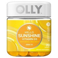 Olly Hello Sunshine Vitamin D Luminous Lemon Vitamin Gummies - 70ct