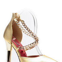 Red Kiss Gold Pointed Toe Lipstick Heels