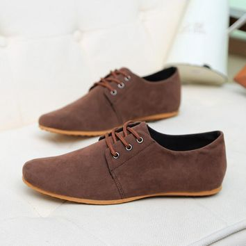 Brand Minimalist Design Genuine Suede Leather Men Casual Shoes Hot Sale Flat British Style Oxford Shoes Big Size 39-46