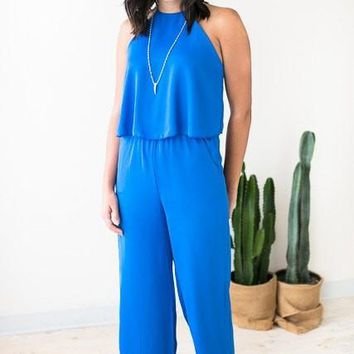 All Year Long Royal Blue Jumpsuit