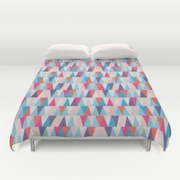 Blue & Pink Geometric Triangle Pattern Duvet Cover by Modern Homes
