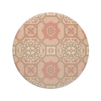Geometric Floral in Melon and Orange Sandstone Coaster