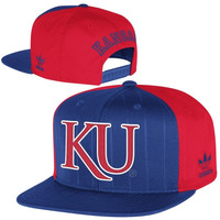 adidas Kansas Jayhawks Pinstripe Snapback Adjustable Hat - Royal Blue/Crimson