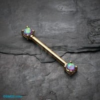 Golden Opal Sparkle Prong Nipple Barbell Ring