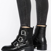 Pimkie Double Buckle Biker Boot at asos.com