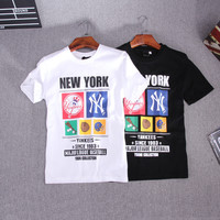 Couple Short Sleeve T-shirts Permeable Cotton Brush [10507739271]