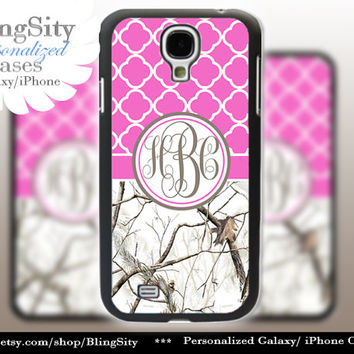 Monogram Galaxy S4 case S5 Real White Tree Camo Hot Pink Quatrefoil Personalized Samsung Galaxy S3 Case Note 2 3 Cover Country Girl