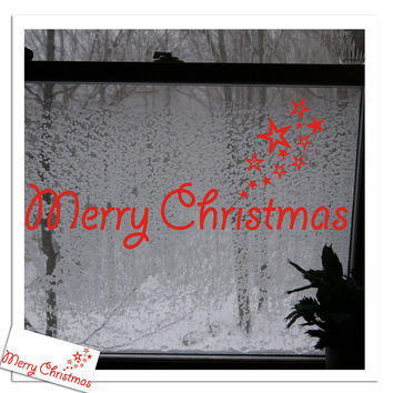 DIY Home Decor New Christmas Decoration Wall Stickers Window Glass Decoration Wall Decal Merry Christmas 2016