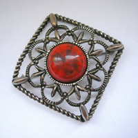 Vintage SARAH silver tone victorian style filigree square brooch with faux red stone