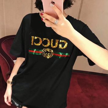 """Gucci "" Women Casual Fashion Sequin Tiger Head Letter Short Sleeve T-shirt Tops Tee"