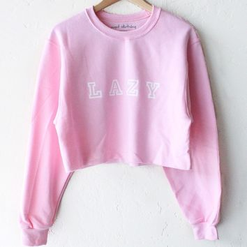 Lazy Oversized Cropped Sweatshirt - Pink