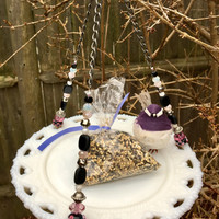 Vintage Dish Bird Feeder, Repurposed Plate Feeder, Hanging Garden Yard Art, Recycled Milk Glass Plate, Home Decor, Candle Holder, Gift Idea