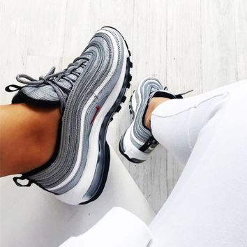 NIKE AIR MAX 97 Trending Unisex Leisure Running Sport Shoes Lovers Sneakers Silvery Grey I