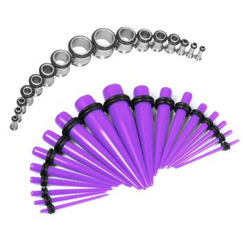 BodyJ4You Gauges Kit Purple Acrylic Taper Stainless Steel Tunnels 12G-00G Stretching Set 32PCS