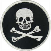 JOLLY ROGER CROSSBONES PIRATE SKULL EMBROIDERED IRON/SEW ON PATCH