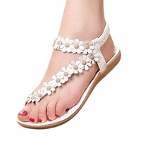 Hee Grand Sweet Flower Thong Sandals US 7 White