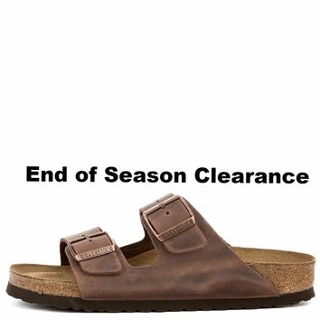 Birkenstock for Women: Narrow Arizona Waxy Leather Soft Footbed Habana Sandals Day-Fir