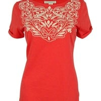 Charter Club Women's Embroidered Cuffed Sleeve Top