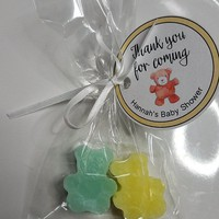 Baby Shower Favors - Teddy Bear Soaps Nursery theme soap, Babys First Birthday custom made with Personalized tags & bags | Pack of 10