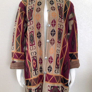 SALE 90s Southwestern Long Women's Sweater - Cozy Tribal Print Oversize Cardigan in Wine, Forest, Gold, and Tan - Size Large