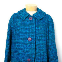 STOREWIDE SALE... 50s blue wool winter coat. women's winter coat.