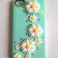 Mint Daisy Floral Candy Case