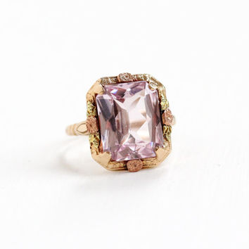 Vintage 10k Gold Art Deco Simulated Pink Sapphire Ring - Size 6 Filigree Flower 1920s 1930s Created Spinel Emerald Cut Tri-Tone Fine Jewelry
